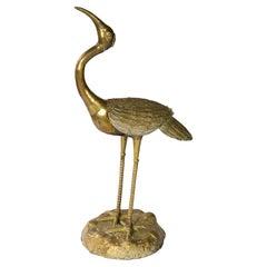 Mid-Century Brass Bird Sculpture