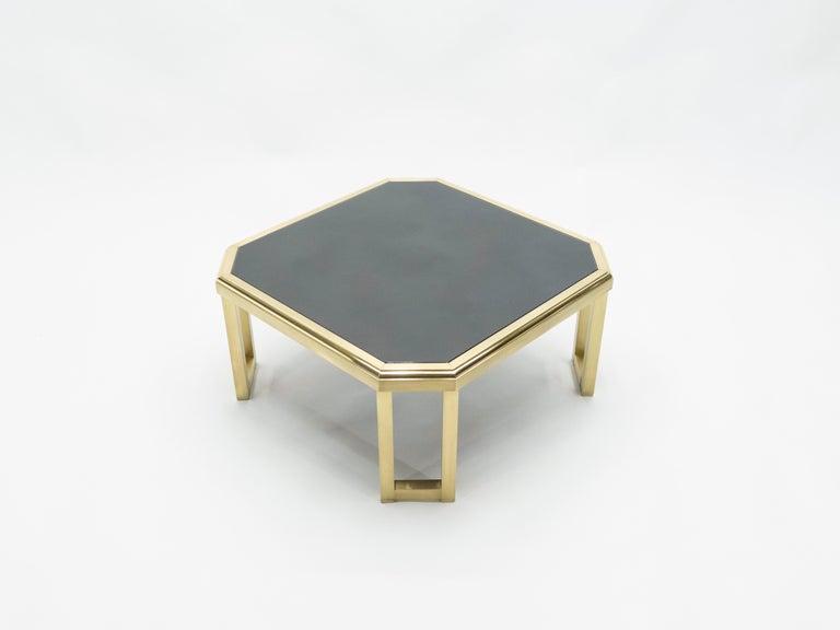 Mid-Century Modern Midcentury Brass Black Opaline End Table by Maison Jansen, 1970s For Sale
