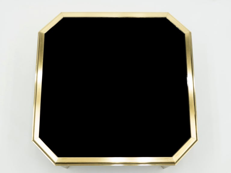 French Midcentury Brass Black Opaline End Table by Maison Jansen, 1970s For Sale
