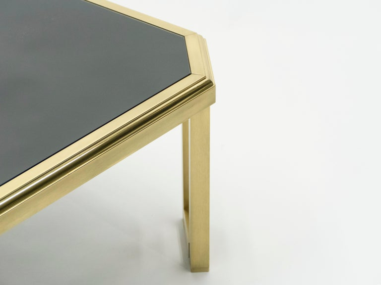Late 20th Century Midcentury Brass Black Opaline End Table by Maison Jansen, 1970s For Sale