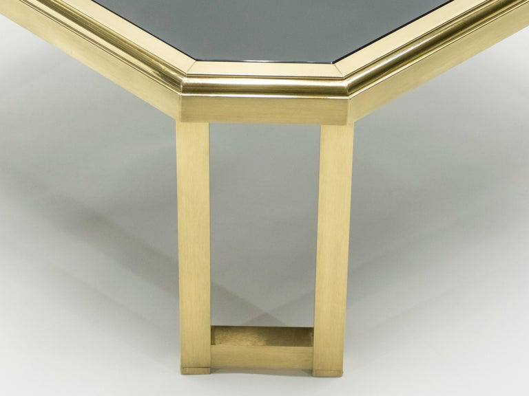 Midcentury Brass Black Opaline End Table by Maison Jansen, 1970s For Sale 1