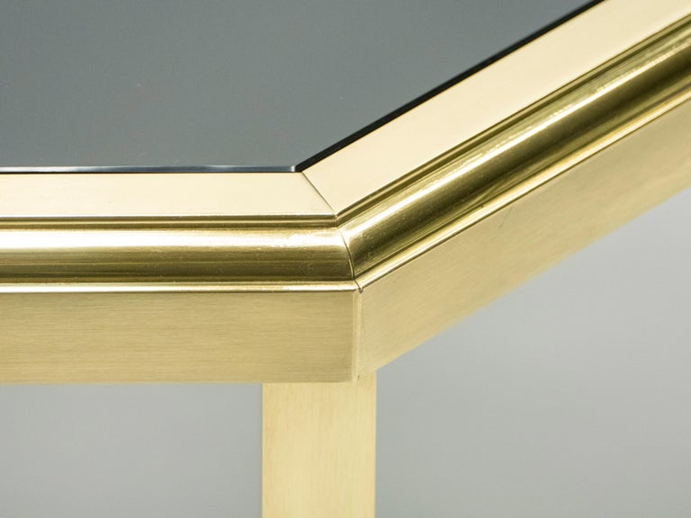 Midcentury Brass Black Opaline End Table by Maison Jansen, 1970s For Sale 2