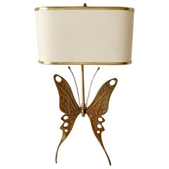 Mid Century Brass Butterfly Wall Sconce, att Willy Daro