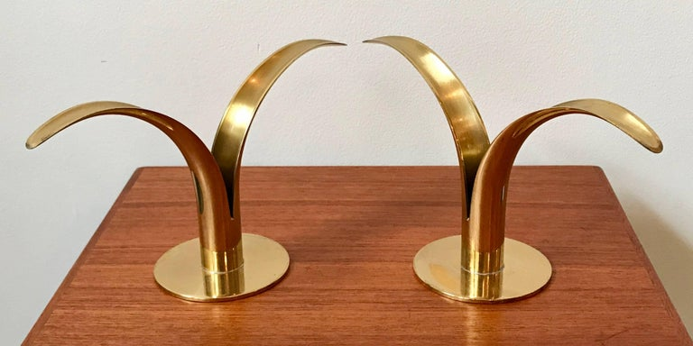 Mid-Century Modern Midcentury Brass Candlestick Holders by Iver Alenius Bjork for Ystad, Sweden For Sale