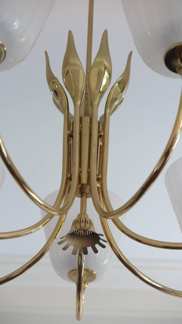 Swedish Mid Century Brass Chandelier by Borens For Sale
