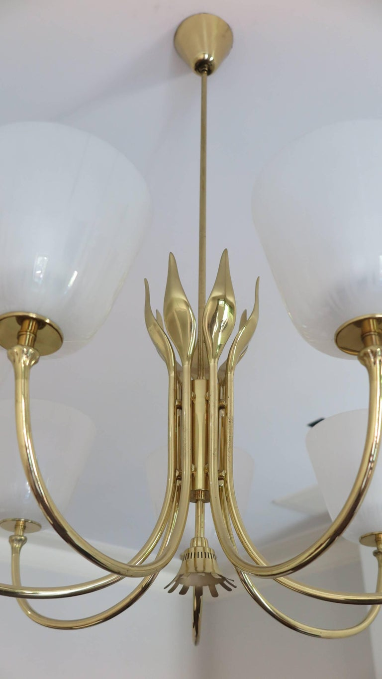 Mid Century Brass Chandelier by Borens In Excellent Condition For Sale In New York, NY