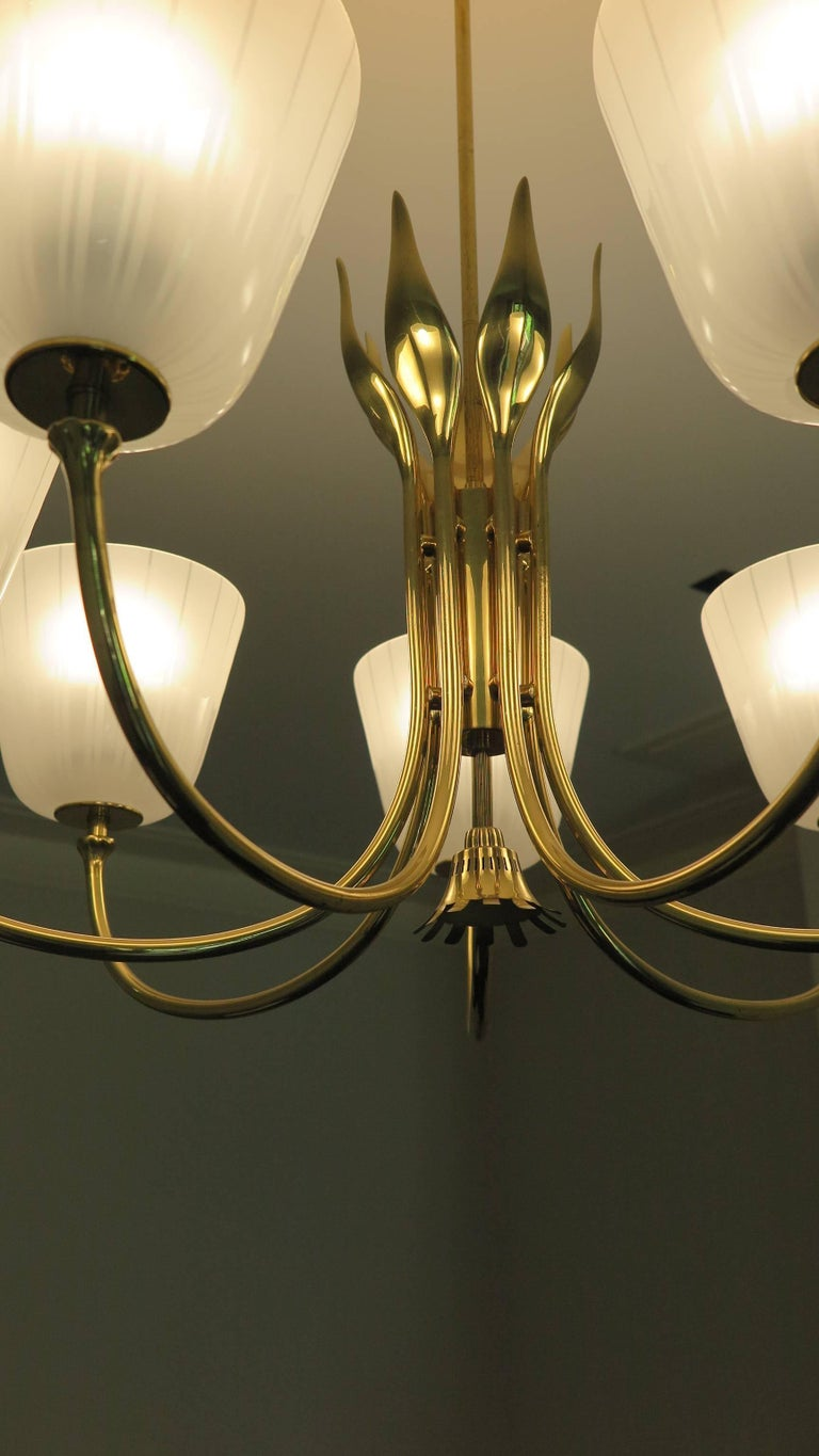 Mid Century Brass Chandelier by Borens For Sale 1