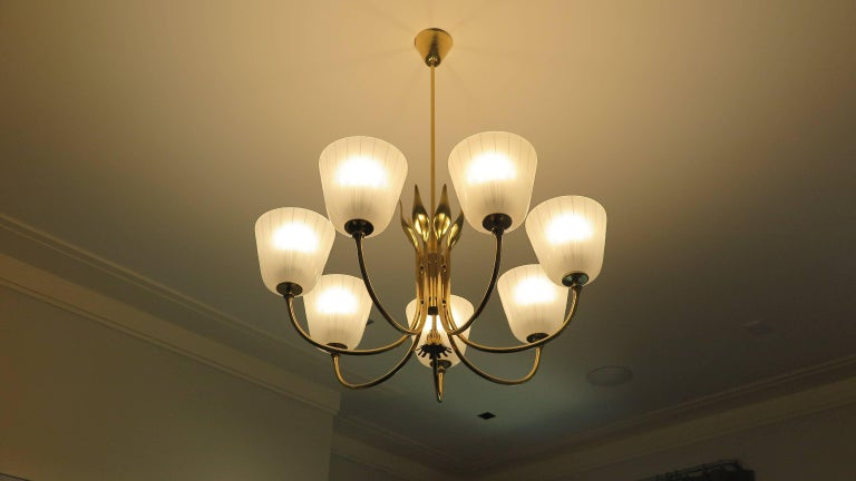 Mid Century Brass Chandelier by Borens For Sale 2