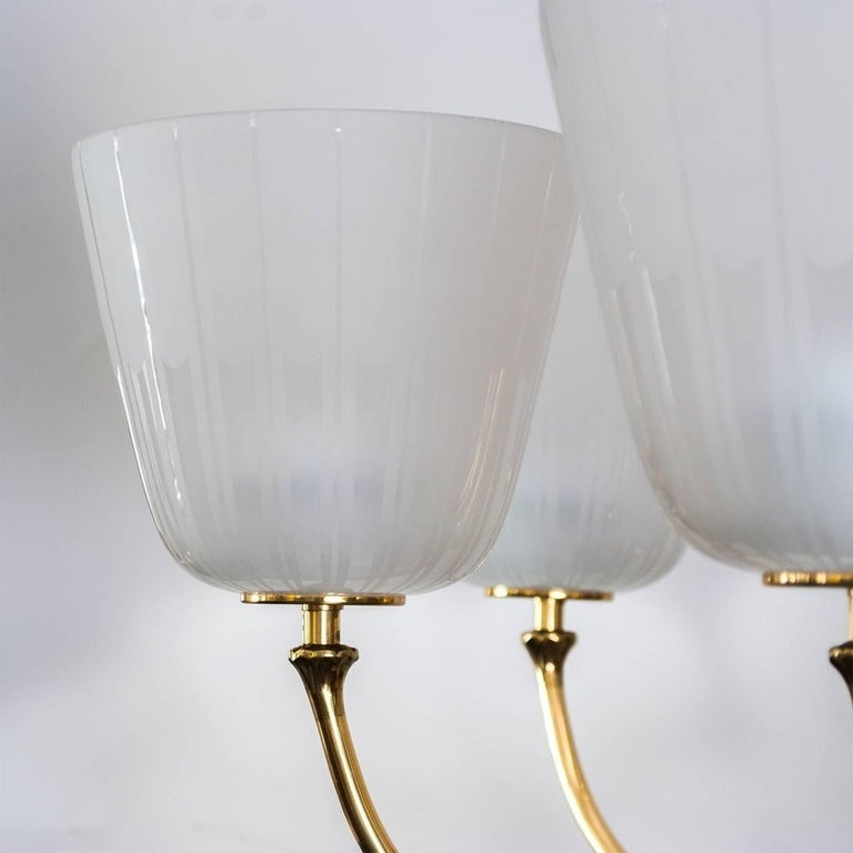 Mid Century Brass Chandelier by Borens For Sale 3