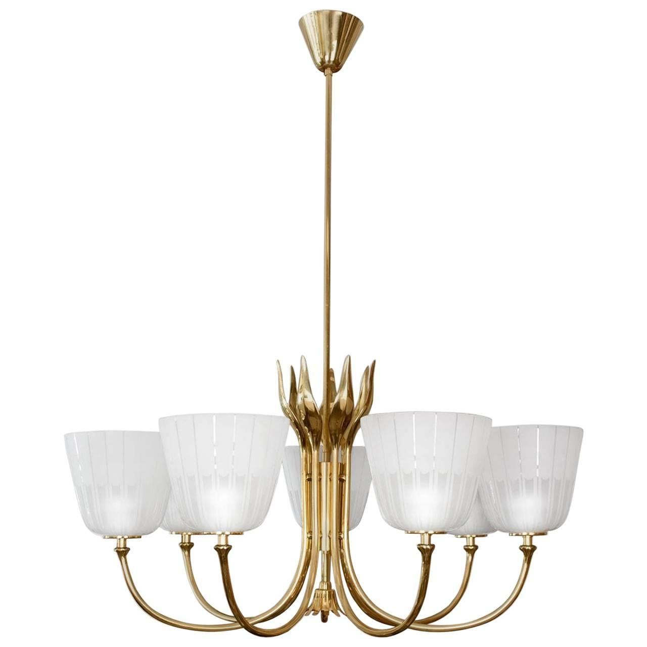 Mid Century Brass Chandelier by Borens