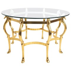 Midcentury Brass Cheval Horse Dining Table Attributed to Maison Jansen