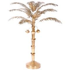 Midcentury Brass Coconut Palm Tree