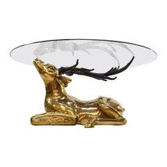 Midcentury Brass Deer Sculptural Coffee Table, 1970s