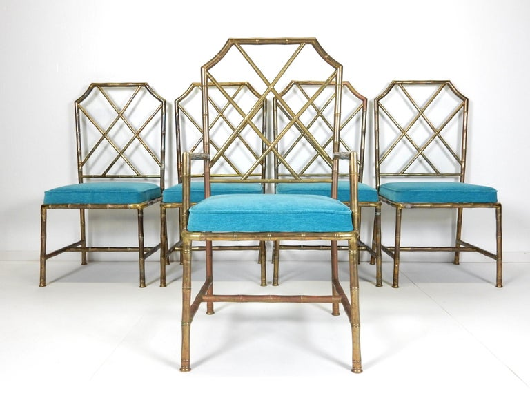 Mid Century Brass Faux Bamboo Chippendale Dining Chairs For Sale At