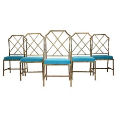 Mid Century Brass Faux Bamboo Chippendale Dining Chairs