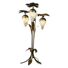 Mid-Century Brass Floor Lamp with Leafs and Alabaster Grapes, circa 1950s
