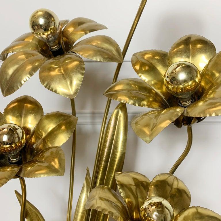 Mid-Century Modern Midcentury Brass Flower Table Lamp, 1970s For Sale