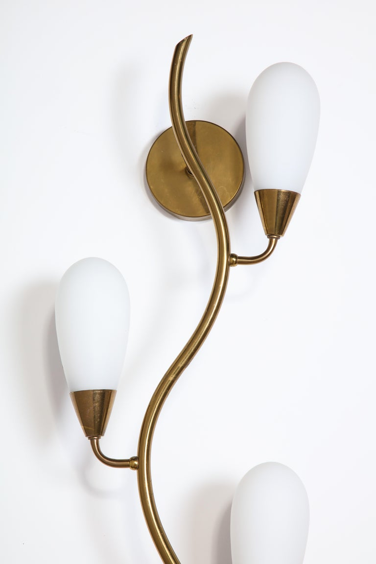 e6f0c6ba3f9b Mid-Century Modern Midcentury Brass and Frosted Glass Shade Wall Light,  Italy, 1950s