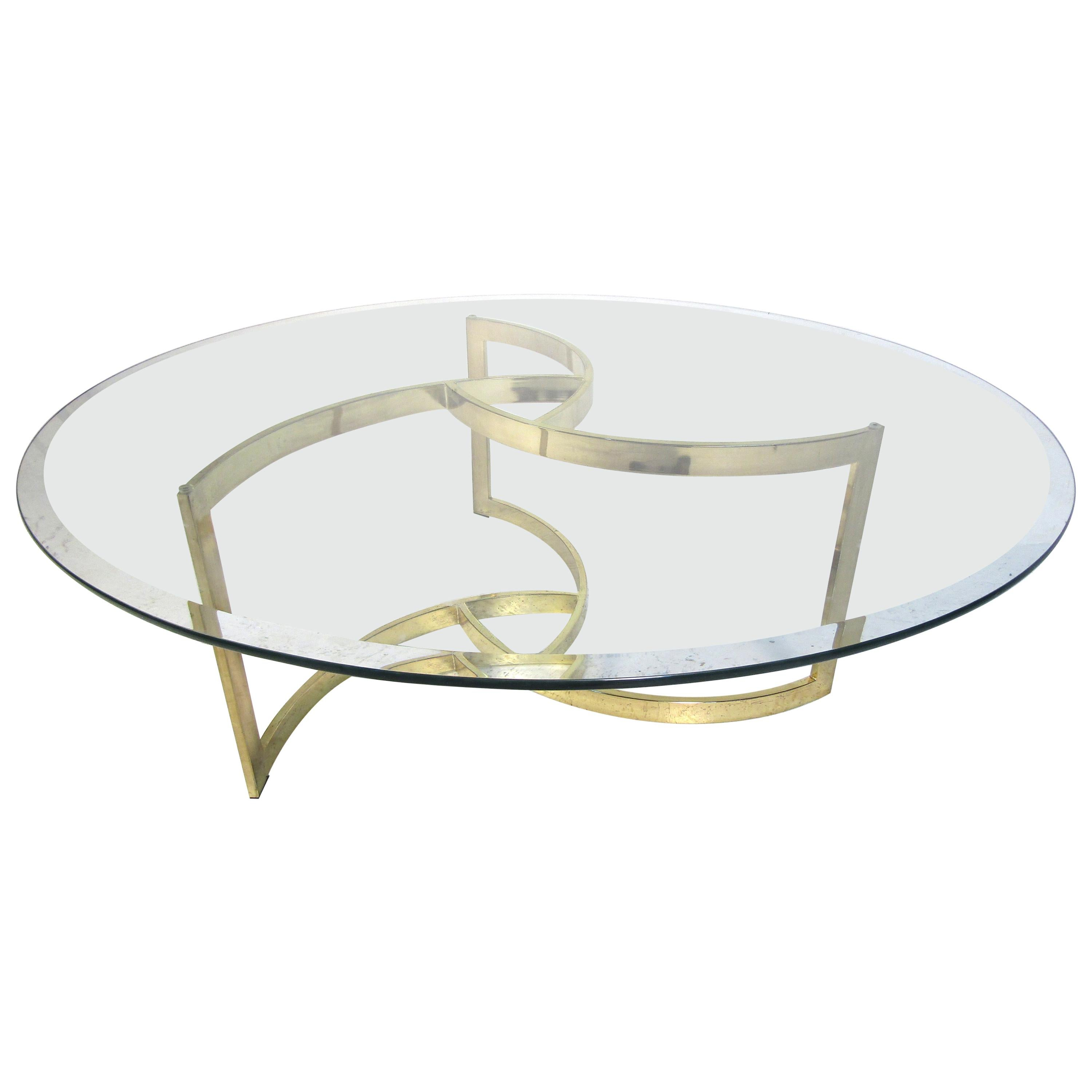 Midcentury Brass and Glass Coffee Table