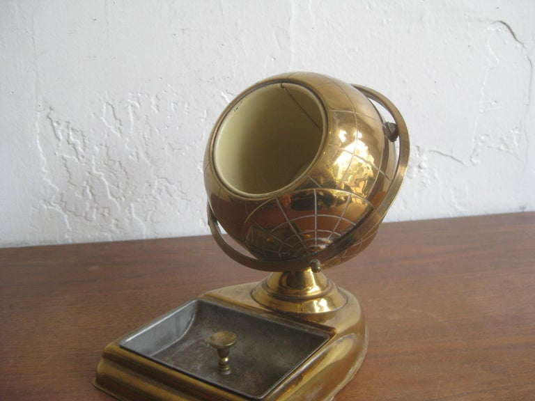 Midcentury Brass Globe Cigarette Holder & Ashtray Office Desk Accessory Caddy For Sale 6