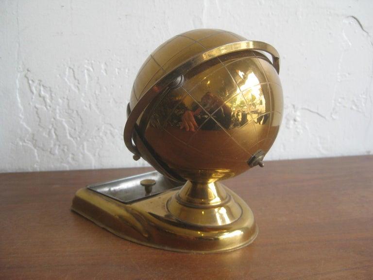 Midcentury Brass Globe Cigarette Holder & Ashtray Office Desk Accessory Caddy For Sale 8