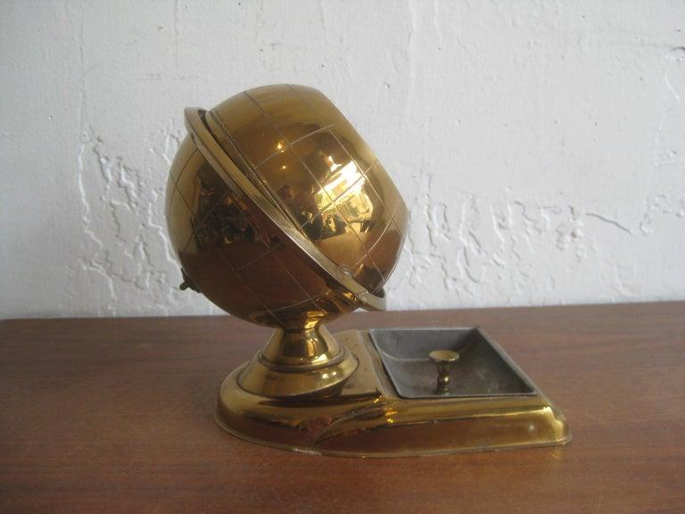 Midcentury Brass Globe Cigarette Holder & Ashtray Office Desk Accessory Caddy For Sale 9
