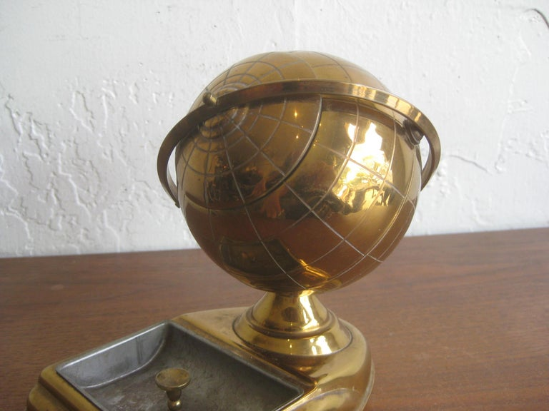 Midcentury Brass Globe Cigarette Holder & Ashtray Office Desk Accessory Caddy In Good Condition For Sale In San Diego, CA