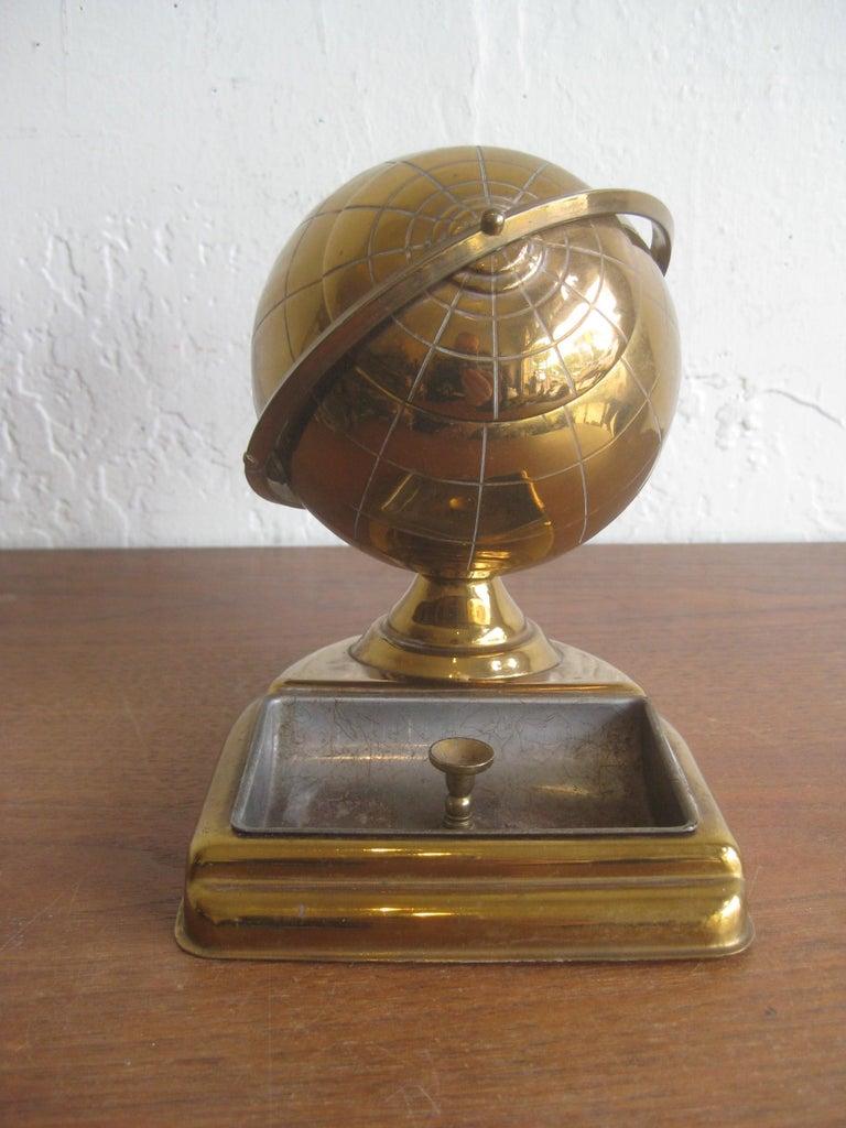 20th Century Midcentury Brass Globe Cigarette Holder & Ashtray Office Desk Accessory Caddy For Sale