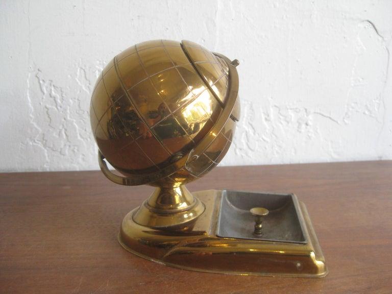 Midcentury Brass Globe Cigarette Holder & Ashtray Office Desk Accessory Caddy For Sale 1