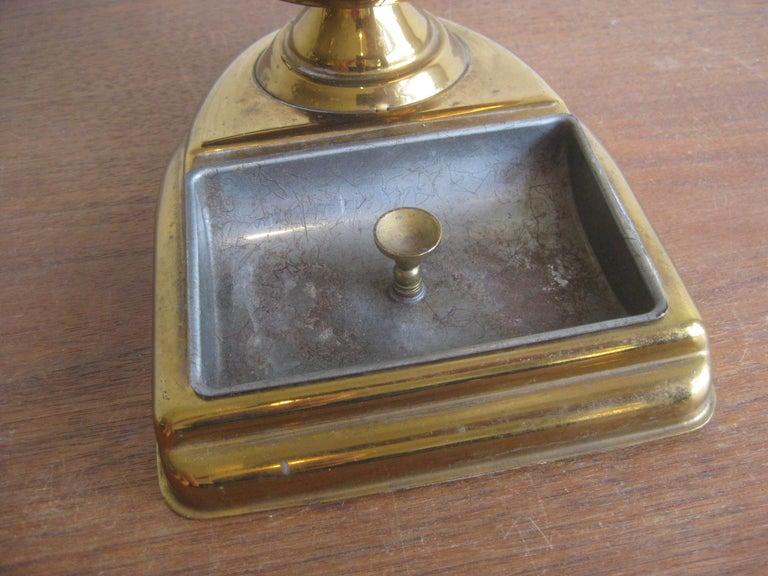Midcentury Brass Globe Cigarette Holder & Ashtray Office Desk Accessory Caddy For Sale 2