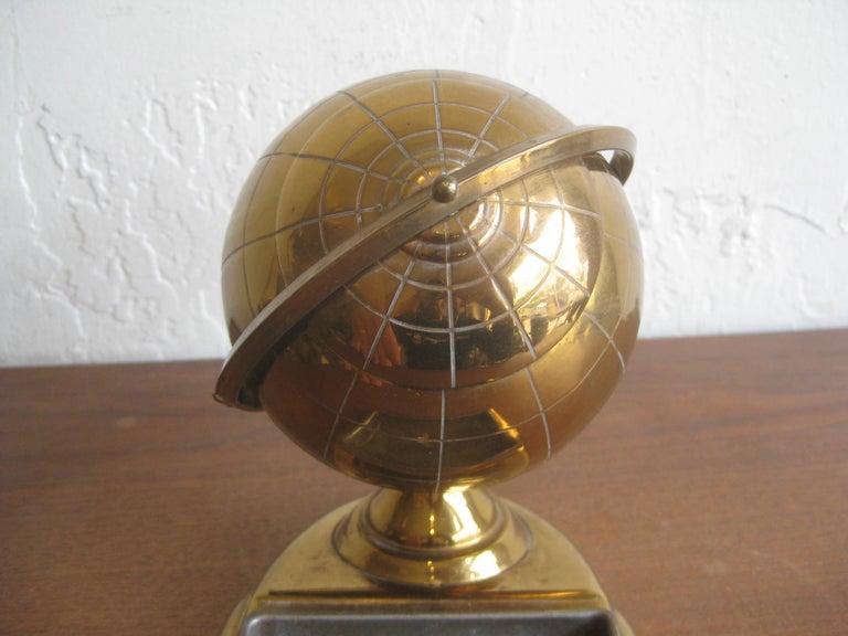 Midcentury Brass Globe Cigarette Holder & Ashtray Office Desk Accessory Caddy For Sale 3