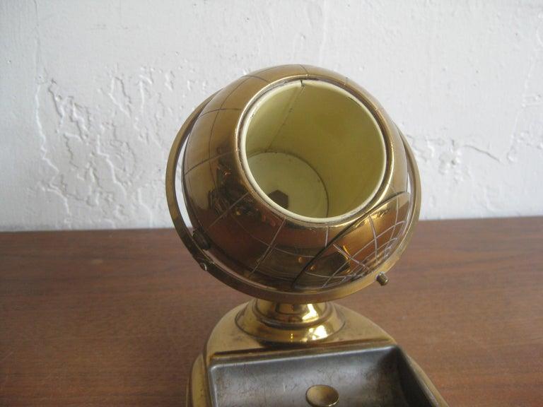 Midcentury Brass Globe Cigarette Holder & Ashtray Office Desk Accessory Caddy For Sale 5