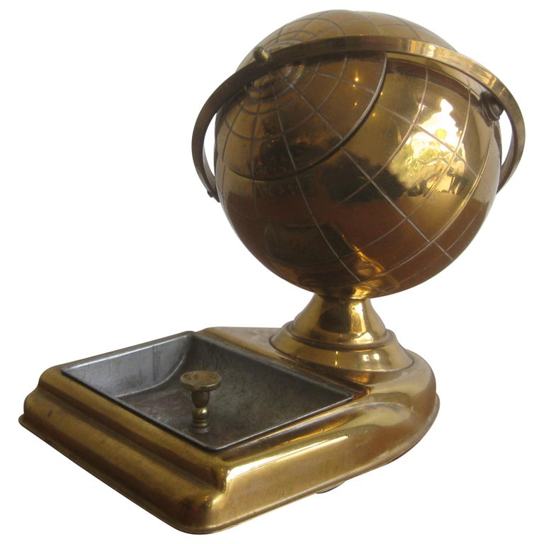 Midcentury Brass Globe Cigarette Holder & Ashtray Office Desk Accessory Caddy For Sale