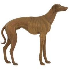 Midcentury Brass Greyhound Statue