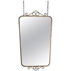 Midcentury Brass Italian Wall Mirror, 1950s