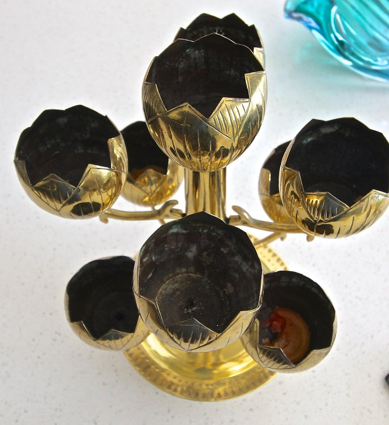 Midcentury Brass Lotus Candleholder Candelabra Feldman In Good Condition For Sale In Palm Springs, CA