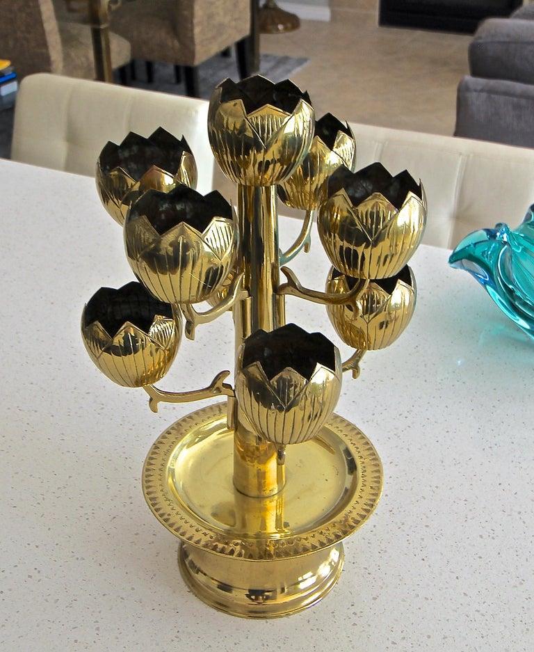 Mid-20th Century Midcentury Brass Lotus Candleholder Candelabra Feldman For Sale