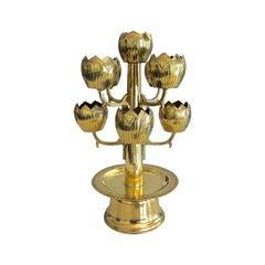Midcentury Brass Lotus Candleholder Candelabra Feldman