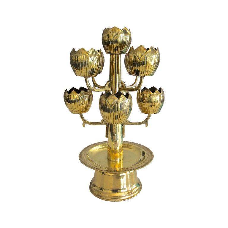 Midcentury Brass Lotus Candleholder Candelabra Feldman For Sale