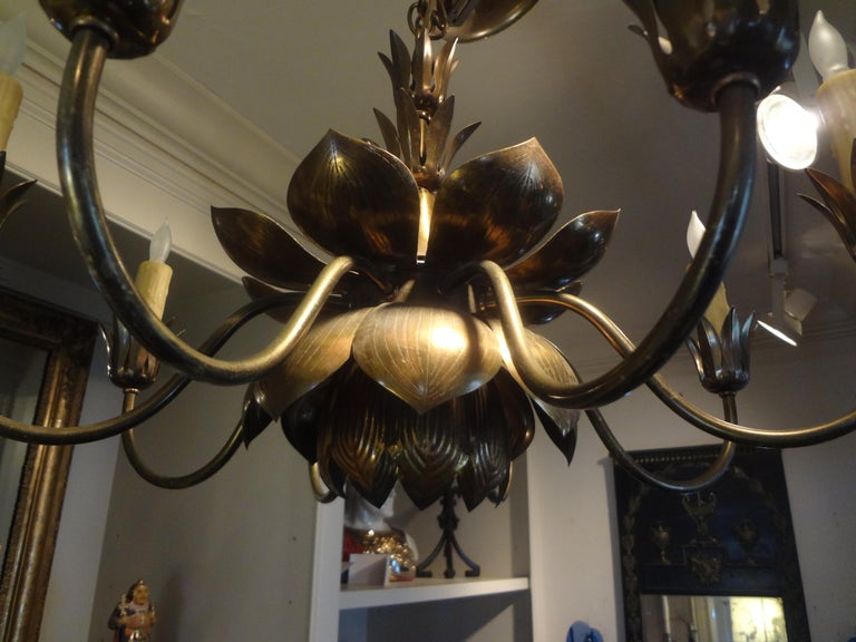 Midcentury Brass Lotus Chandelier by Feldman Lighting Company In Good Condition For Sale In Houston, TX