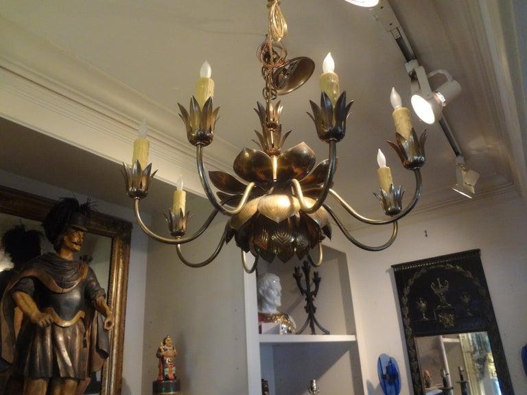 Midcentury Brass Lotus Chandelier by Feldman Lighting Company For Sale 1