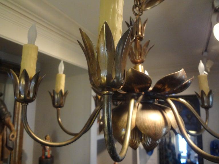 Midcentury Brass Lotus Chandelier by Feldman Lighting Company For Sale 3