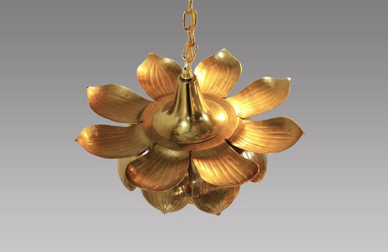Mid-20th Century Midcentury Brass Lotus Pendant Chandelier by Feldman Lighting Co. For Sale