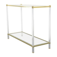 Midcentury Brass & Lucite Console Table