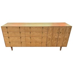 Midcentury Brass and Maple Sideboard