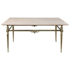 Midcentury Brass and Marble Coffee Table