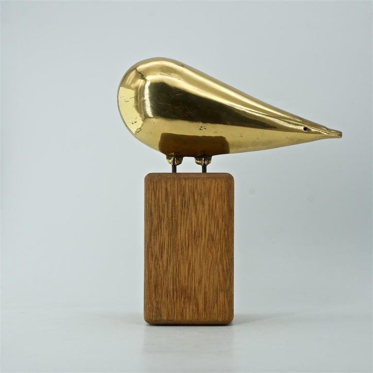 Polished Midcentury Brass Owl Stylized Art Space Age Regency Bird Sculpture C.Jere For Sale