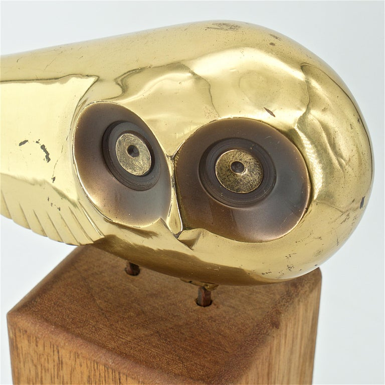 Late 20th Century Midcentury Brass Owl Stylized Art Space Age Regency Bird Sculpture C.Jere For Sale