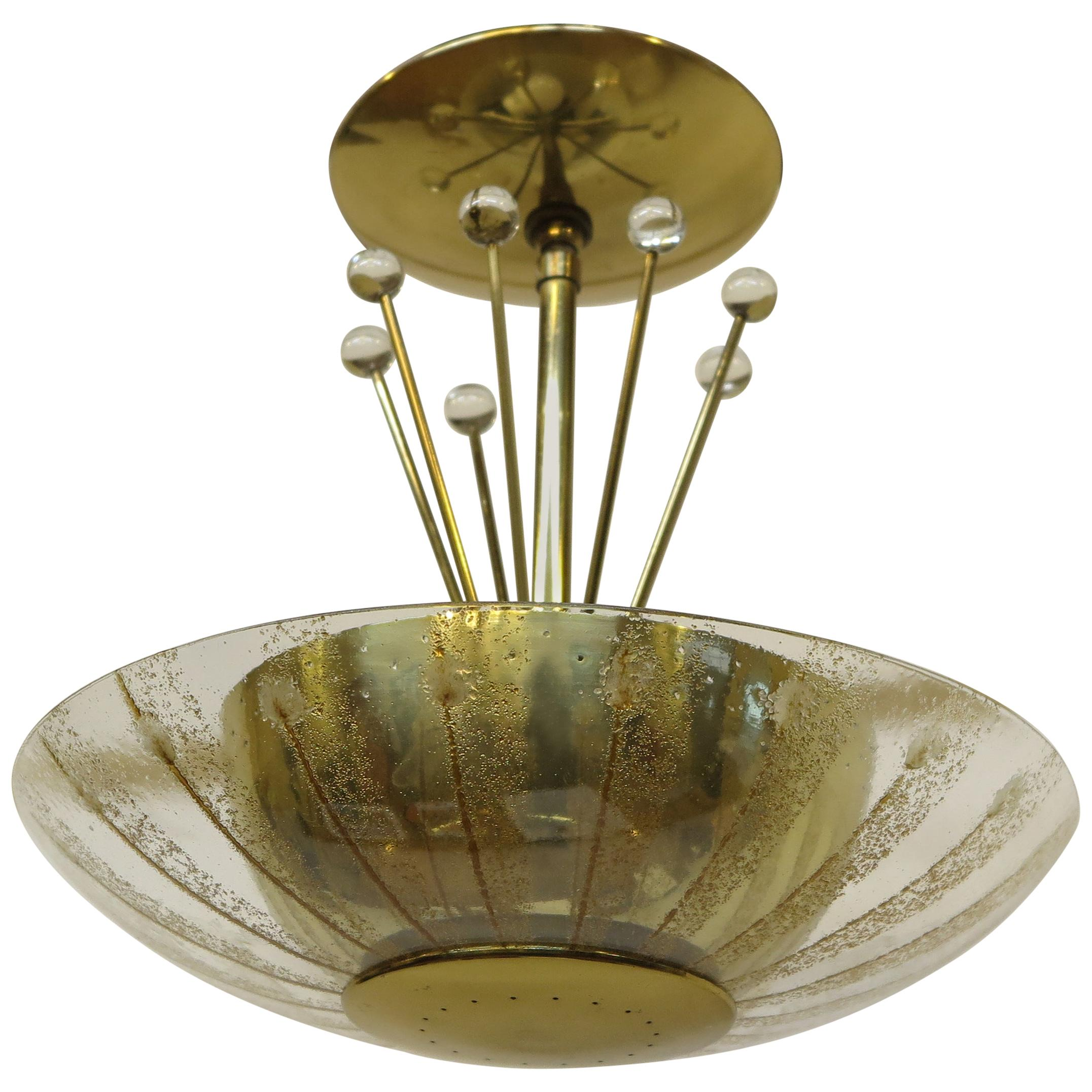 Midcentury Brass Pendant Light Gerald Thurston Lightolier