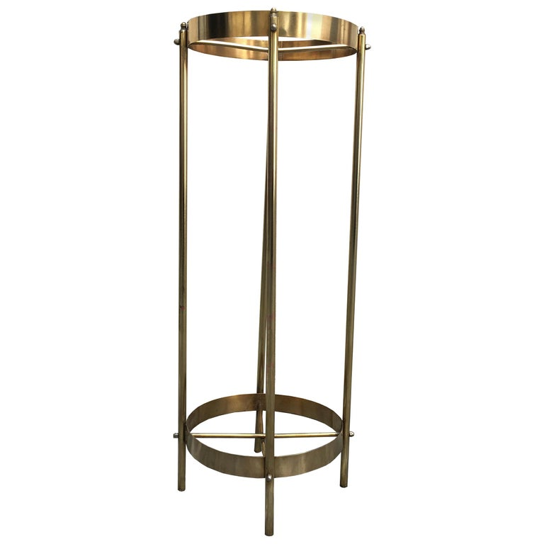 Midcentury Brass Planter Stand or Pedestal For Sale